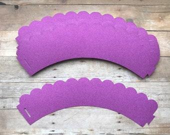 2 Dz Purple Glitter Cupcake Wrappers