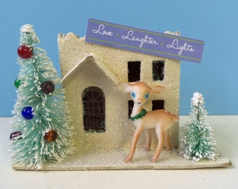 Vintage Inspired Christmas Putz House, White with Bottle Brush Trees and Deer