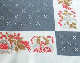 Linen Tablecloth Strawberries Print Mid Century