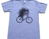 PORCUPINE on a Bicycle - Mens/Unisex T Shirt - xs s m l xl xxl - Heather Grey