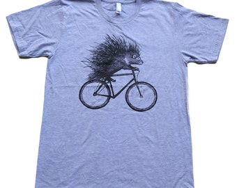 PORCUPINE on a Bicycle - American Apparel Mens/Unisex T Shirt - xs s m l xl xxl - Heather Grey