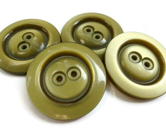 Olive Shimmer Vintage Buttons - 4 Large Coat Buttons 1 1/8 inch 27mm for Coat Blazer Jewelry Supplies Beads Sewing Knitting