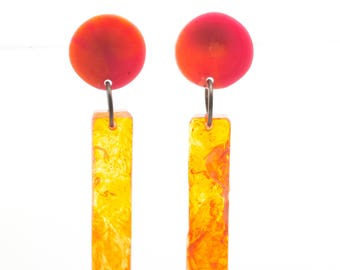 Contemporary Handmade Red and Orange Column Earrings