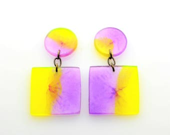 Contemporary Handmade Yellow and Purple Square Resin Earrings