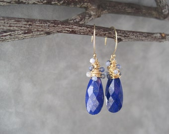 Lapis Whirlwind Earrings - Blue- Spun Gold - Shades of Blue - Faceted - Bright - Statement - Lapis Drops