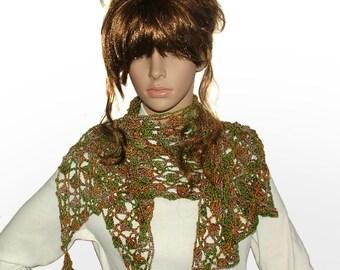 Silk Crochet Scarf Shawl Wrap OOAK Triangular Crochet Lace Women's Silk Scarf Shawl Wrap in Autumn tones