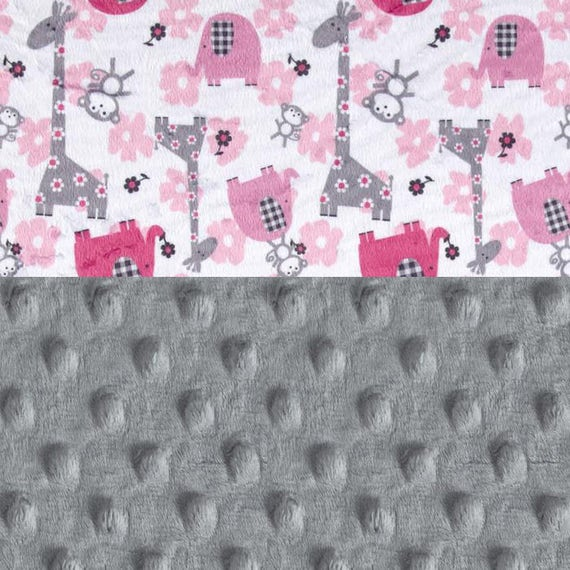 Elephant Baby Lovey Blanket, Personalized Baby Blanket Girl, Pink Silver Gray Animal Minky Blanket, Baby Shower Gift, Tag Blanket, Baby Girl