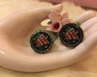 Vintage petit point clip on earrings