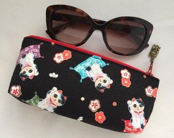 Maneki Neko Zipper Pouch / Eyeglass Case