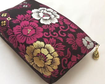 Upcycled Obi Zipper Pouch / Cosmetic Pouch Made From Vintage Obi - Peony Karakusa