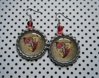 Gryffindor house crest Hogwarts Gryffindor Harry Potter inspired bottle cap earrings with red glass beads