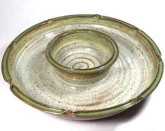 Ceramic Chip and Dip in  cream and green with yellow In Stock and Ready to Ship