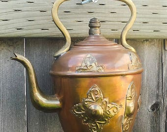 Brass Medallions - Antique Copper Moroccan Teapot given new life as a Windchime