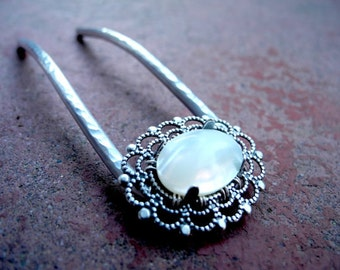 Mother of Pearl Hair Fork - Custom Made to Order-  hair accessories, metal hair comb, hair stick, u pin, woman