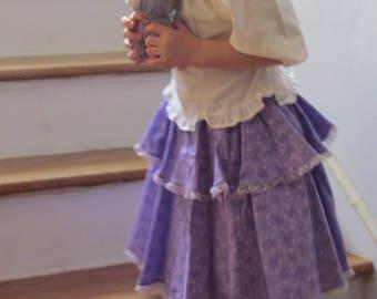 Flounced Purple Skirt, Dancing Skirt, Purple Party Skirt, Girls' Size 4 - 7*