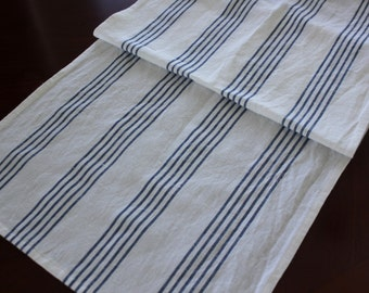 Cotton and Linen Table Runner -  Blue and Cream Farmhouse Stripe Runner