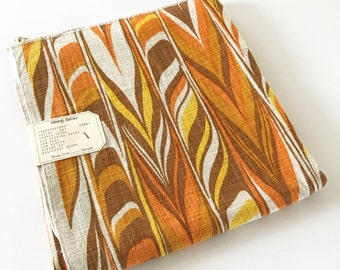 Vintage Barkcloth Fabric Sample Waverly Abstract Pattern Yardage Impressions Orange Spice NOS