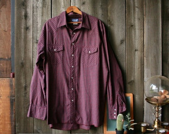 Vintage Wrangler Men's Shirt Long Sleeve Country Western Burgundy Plaid Pearl Snaps Vintage From Nowvintage on Etsy