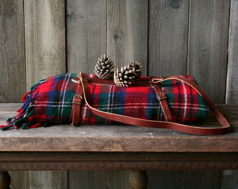 Wool Plaid Blanket With Fringe Red Green Blue Rustic Cabin Decor Camping Picnic and Glamping Vintage From Nowvintage on Etsy