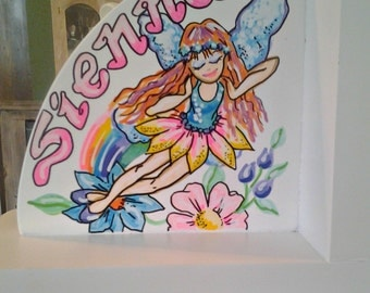 Childrens Hand Painted Personalized Bookends Fairy and Mermaid Design