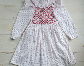 Vintage Polly Flinders Smocked White Dress with Tiny Red Swiss Dots