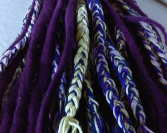 Ready To Ship Purple Lilac Light Yellow Wool Yarn Dreadlock Falls Raver Hair Extensions