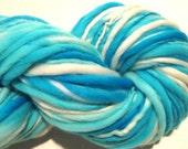 Super Chunky Handspun Yarn Cumulus 98 yards hand dyed merino wool thick n thin blue yarn turquoise yarn knitting supplies crochet supplies