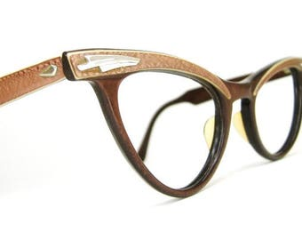 Vintage 50s 60s Winged Cat Eye Eyeglasses Frame A/O