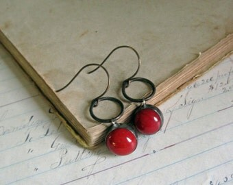 Brick Red Glass Marble Earrings Recycled Jewelry