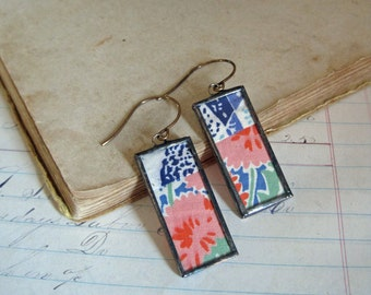 Retro Quilt Earrings One of a Kind Jewelry
