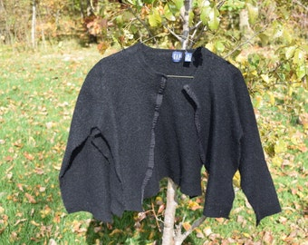 Supply - Felted Wool Sweater - Black  - Recycled Fabric Material