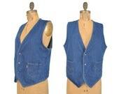 mens 70s Levi's Orange tab denim vest / pocket vest / 1970s blue jean vest