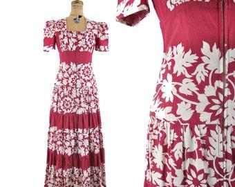 """40s botanical print dress / floral hostess dress / 1940s dressing gown .. 27"""" waist"""