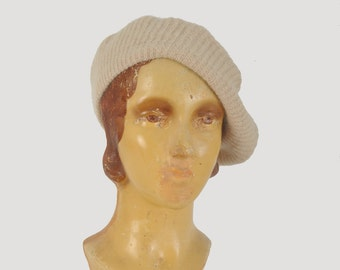vintage 1970s angora beret / soft knit tam hat / 70s taupe beret