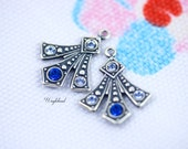 Sapphire & Light Sapphire Swarovski Rhinestone Set Stones Art Deco Style Earring Dangle Stamping Drops 20x16mm - 2