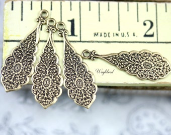 Floral Flower Embossed Earring Dangles Drops Antiqued Brass OX - 4