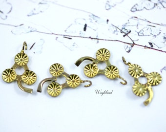 Vintage Tiny Brass Flower Charm Dangle Finding - 12 .