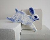 Rabbit Brooch - Handpainted Blue Delftware Porcelain