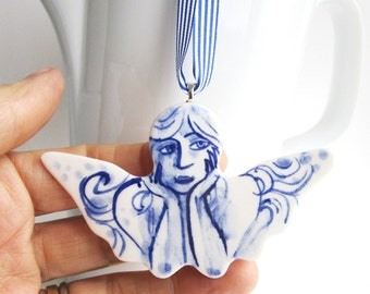 Handformed and handpainted porcelain Delft Blue Christmas decoration/wall hanging - Angel