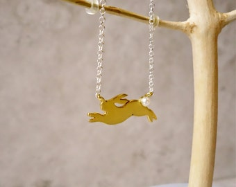 Gold Rabbit Necklace, Rabbit Necklace, Bunny Necklace, Rabbit Charm, Gold Rabbit, Gold Necklace, Easter Necklace, rabbit Jewellery, Bunny