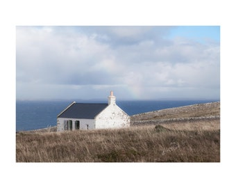 Dunnet Head Cottage Fine Art Photography Scotland Landscape Rainbow soft romantic feminine dreamy home decor seaside coastal decor Scottish