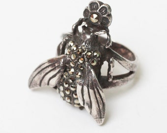 Sterling Marcasite Fly Bug Ring Size 5 Vintage Insect Jewelry