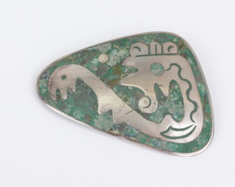 Pre Columbian Mexican Brooch Primitive Design Sterling Crushed Green Stone Vintage