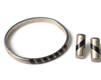 Taxco Sterling Silver Bracelet Earrings Set Black Inlay Modernist Design Vintage