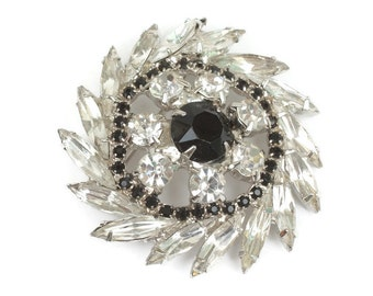 Rhinestone Pinwheel Brooch Clear and Black Stones Vintage