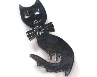 Sterling Silver Cat with Bow Brooch Vintage Taxco Mexico