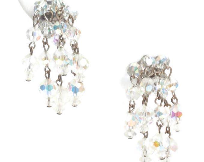 Aurora Borealis Crystal Cascade Earrings Six Strands Vintage