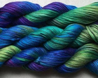 Junco, Rayon Tape Ribbon, Hand dyed  104 yds - Blue Peacock