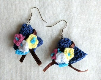 Crocheted Hats! Fun Spring Themed Earrings Crocheted in NAVY BLUE Cotton with Tiny Flowers