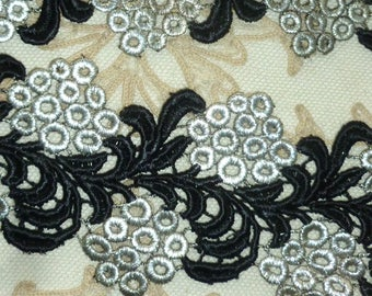 Antique Silver Metal Black Embroidered Lace Trim